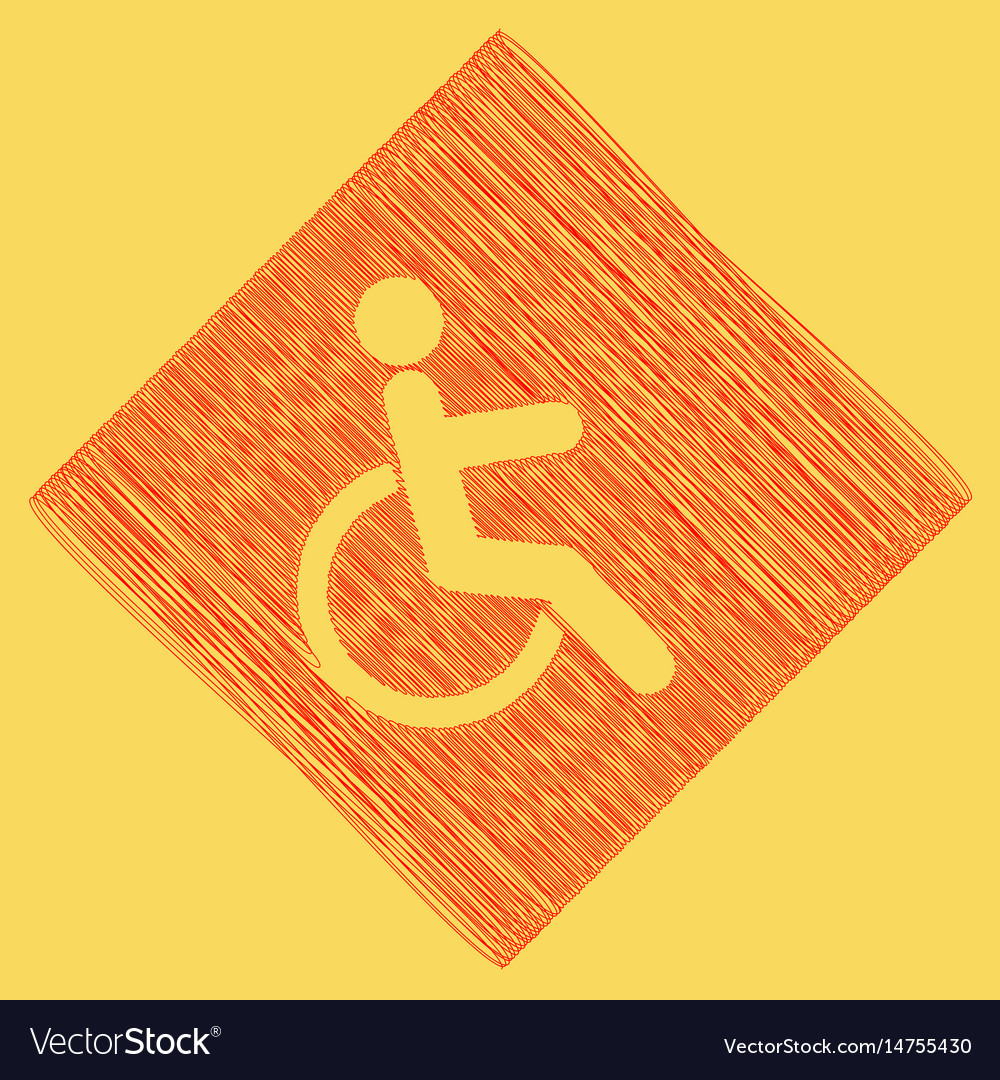 Disabled sign red scribble vector image
