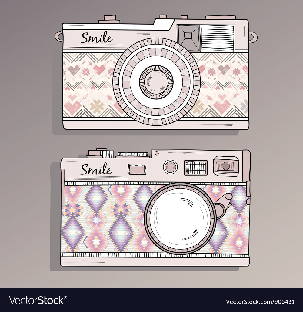 Retro photo cameras set vector image