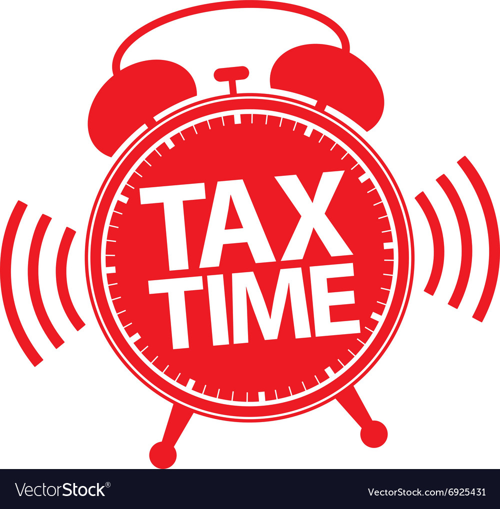Tax time alarm clock red icon vector image