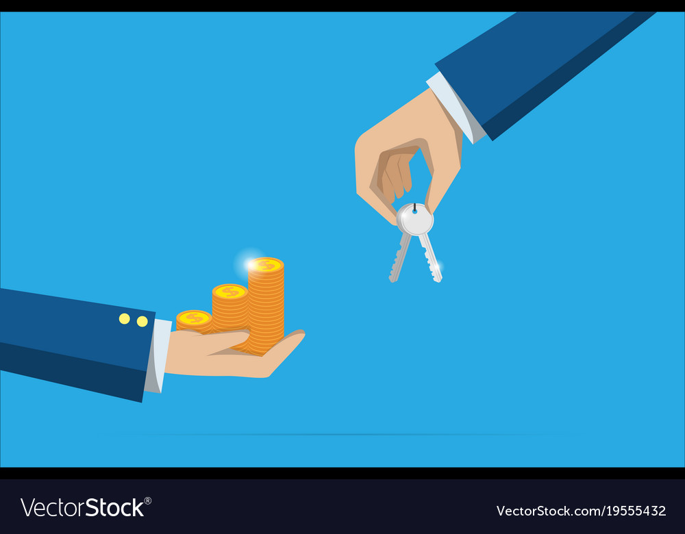 Business hand holding key and coins stack vector image
