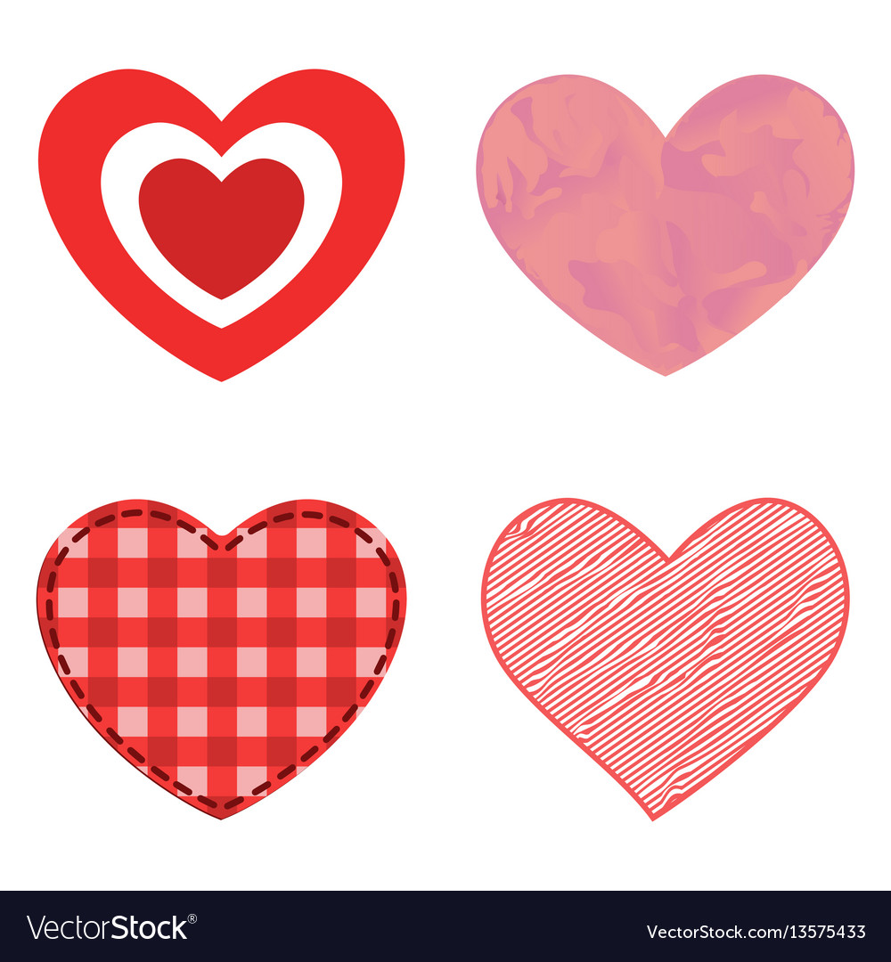 Differents style red heart icon isolated vector image