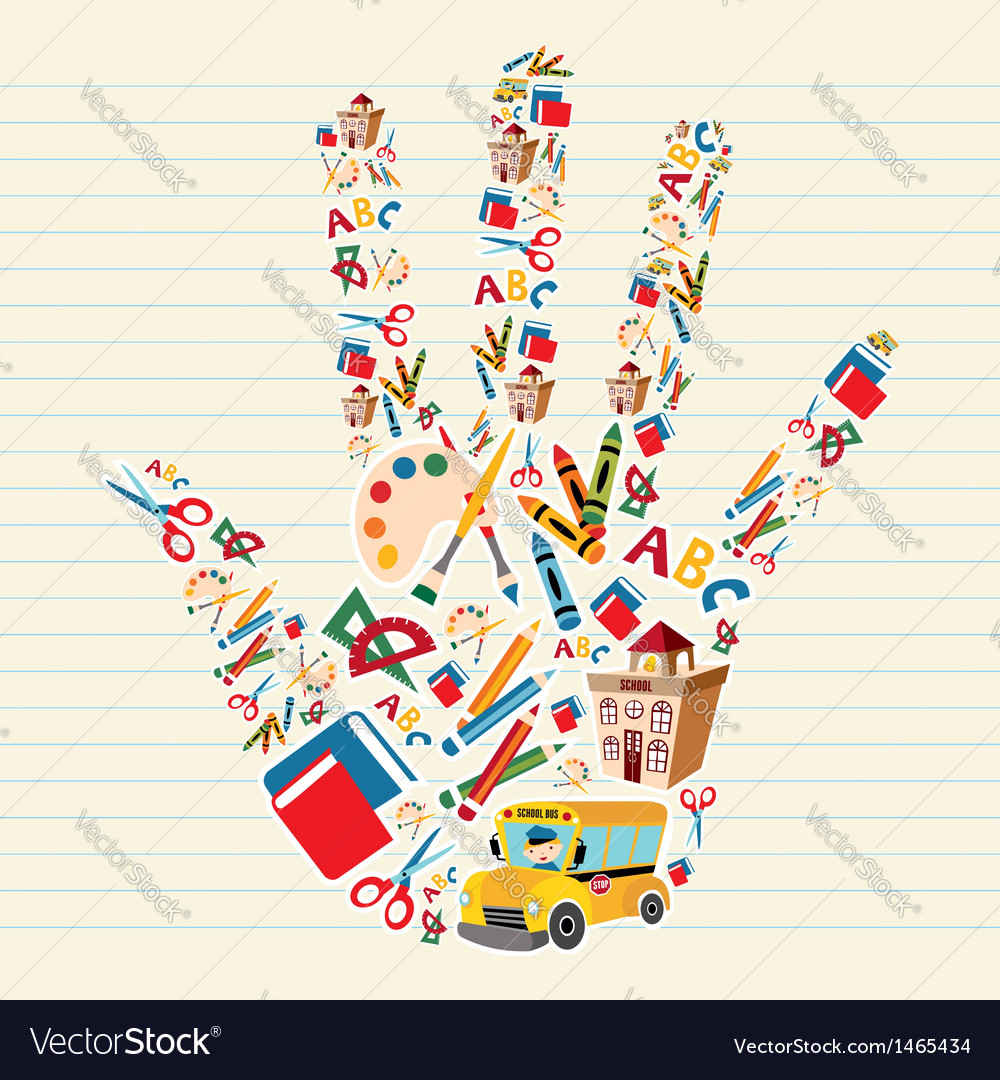 Back to school tools in hand shape vector image