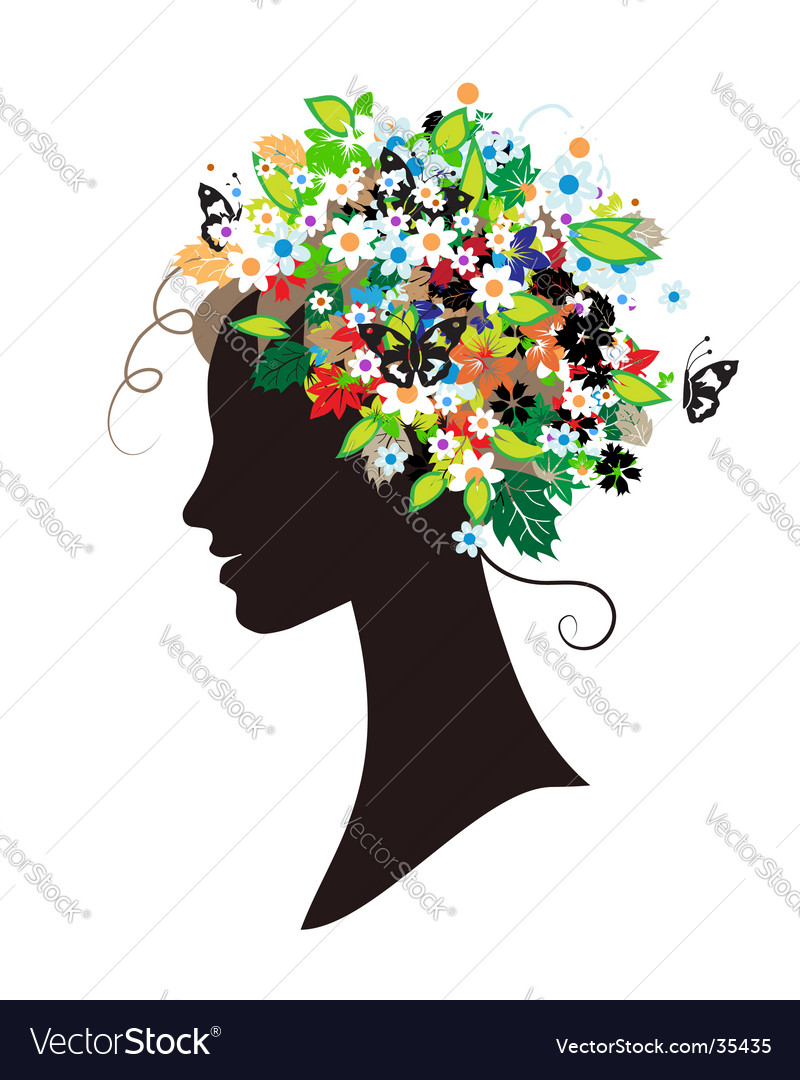 Floral Hairstyle Beautiful Woman For Your De Vector