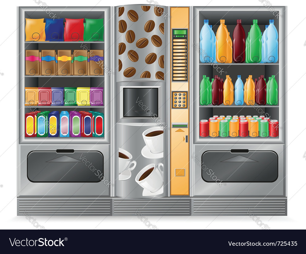 Vending coffee snack and water is a machine vector image
