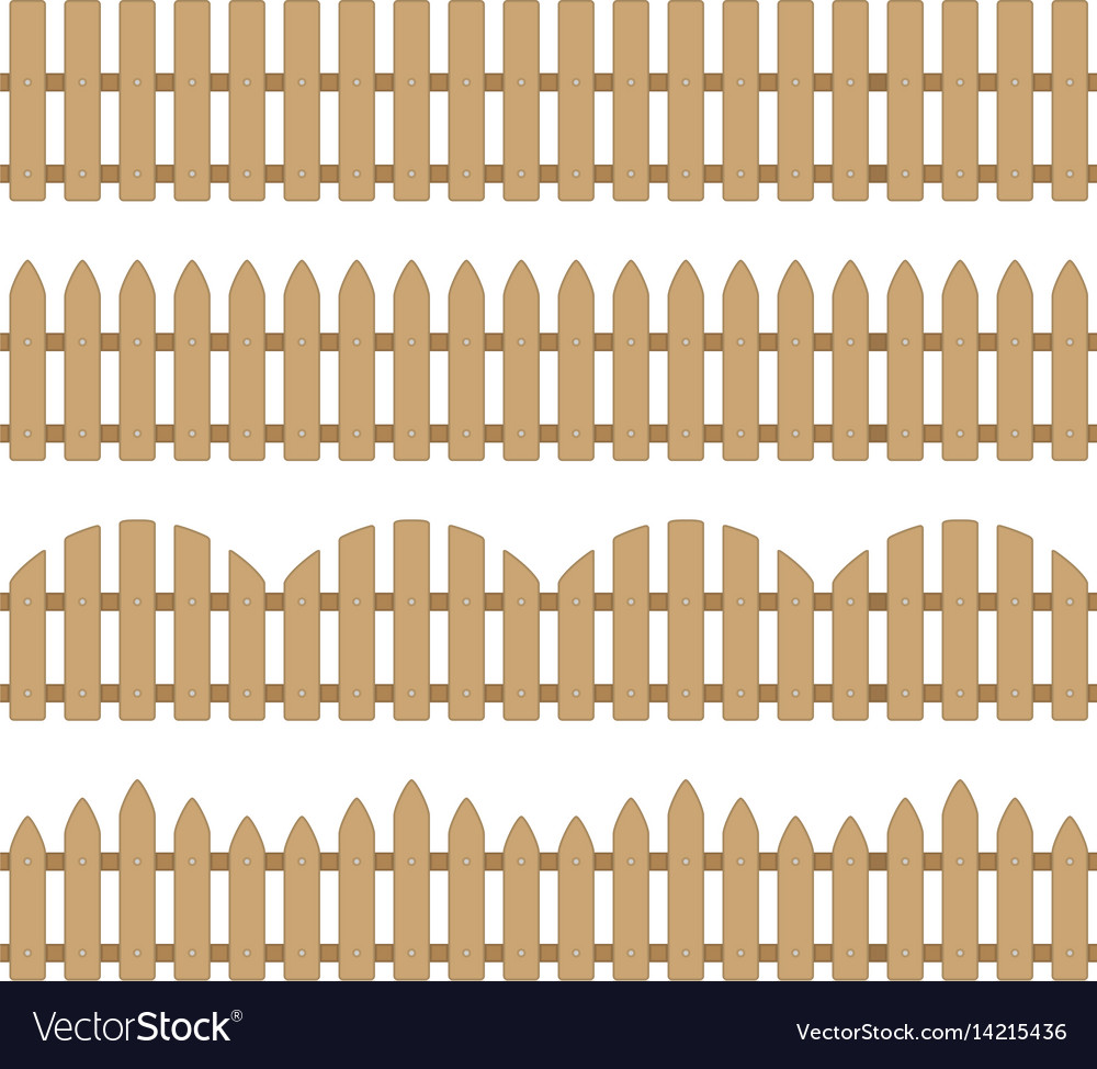 Different seamless wooden fence vector image