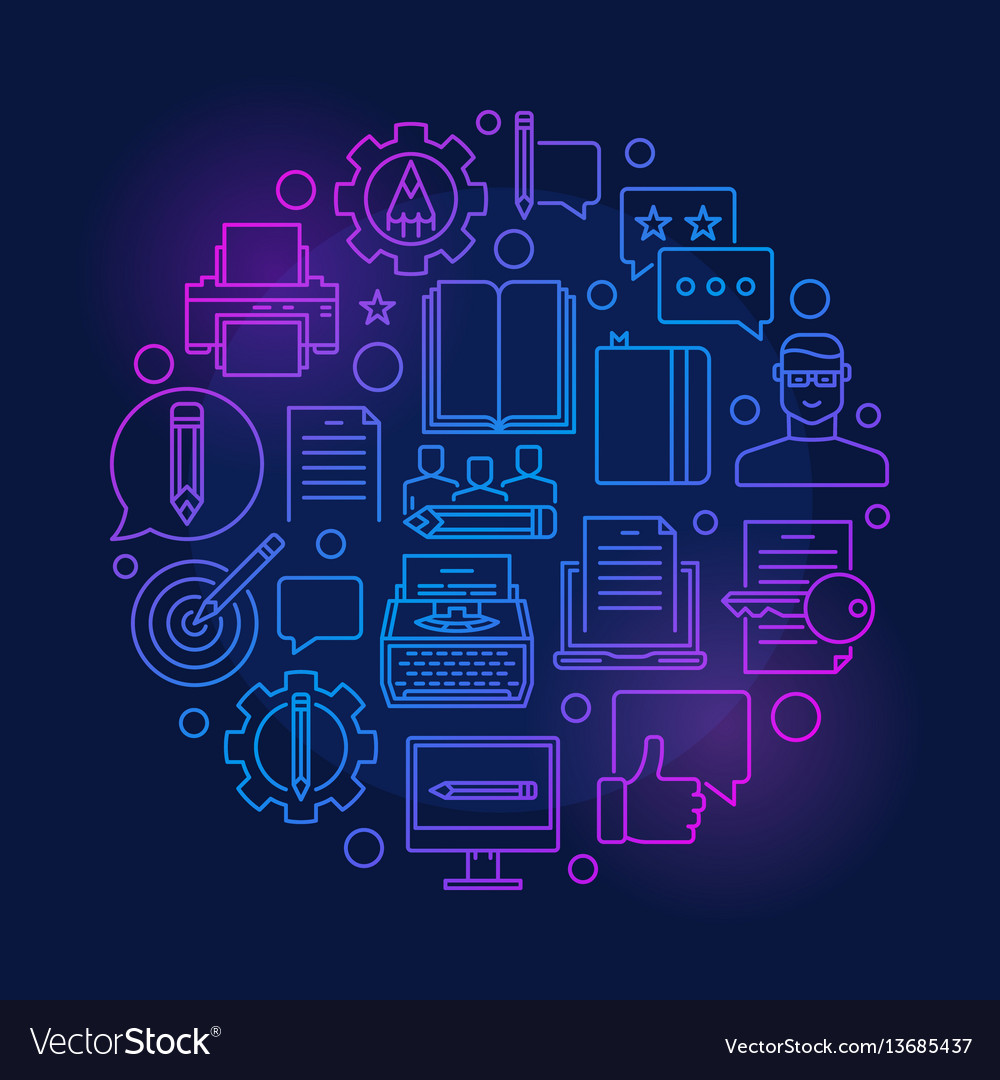Copywriting and marketing colorful vector image