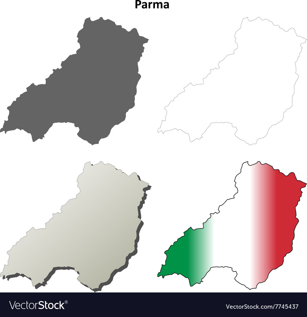 Parma blank detailed outline map set vector image