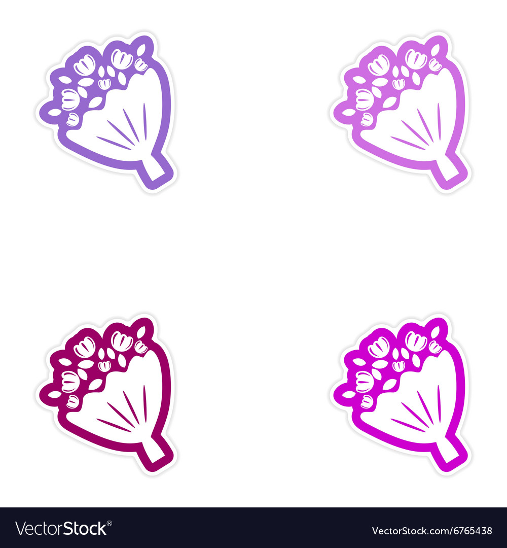 Set of paper stickers on white background bridal