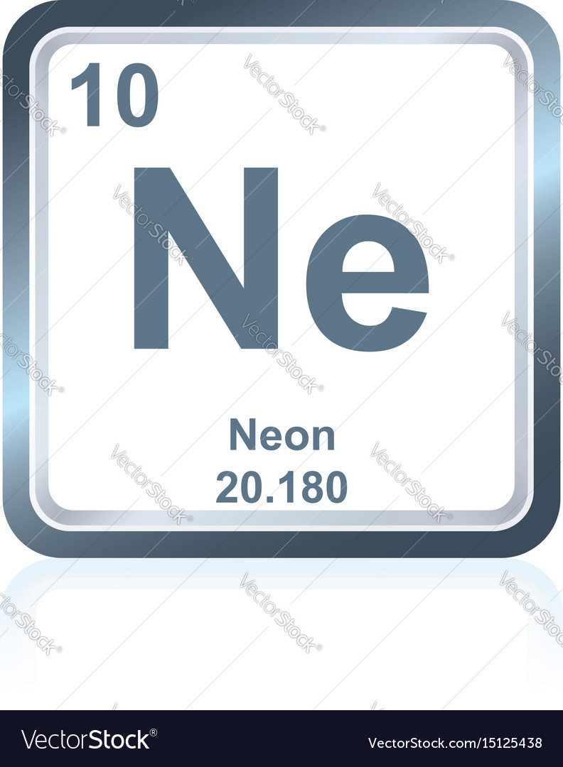 Chemical element neon from the periodic table vector image