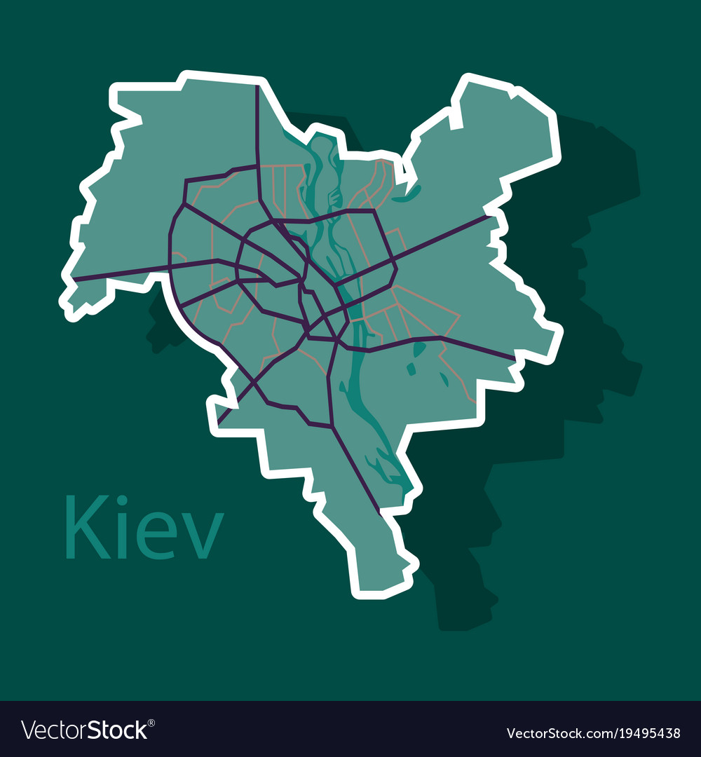 Map of the districts of kiev ukraine sticker vector image gumiabroncs Choice Image