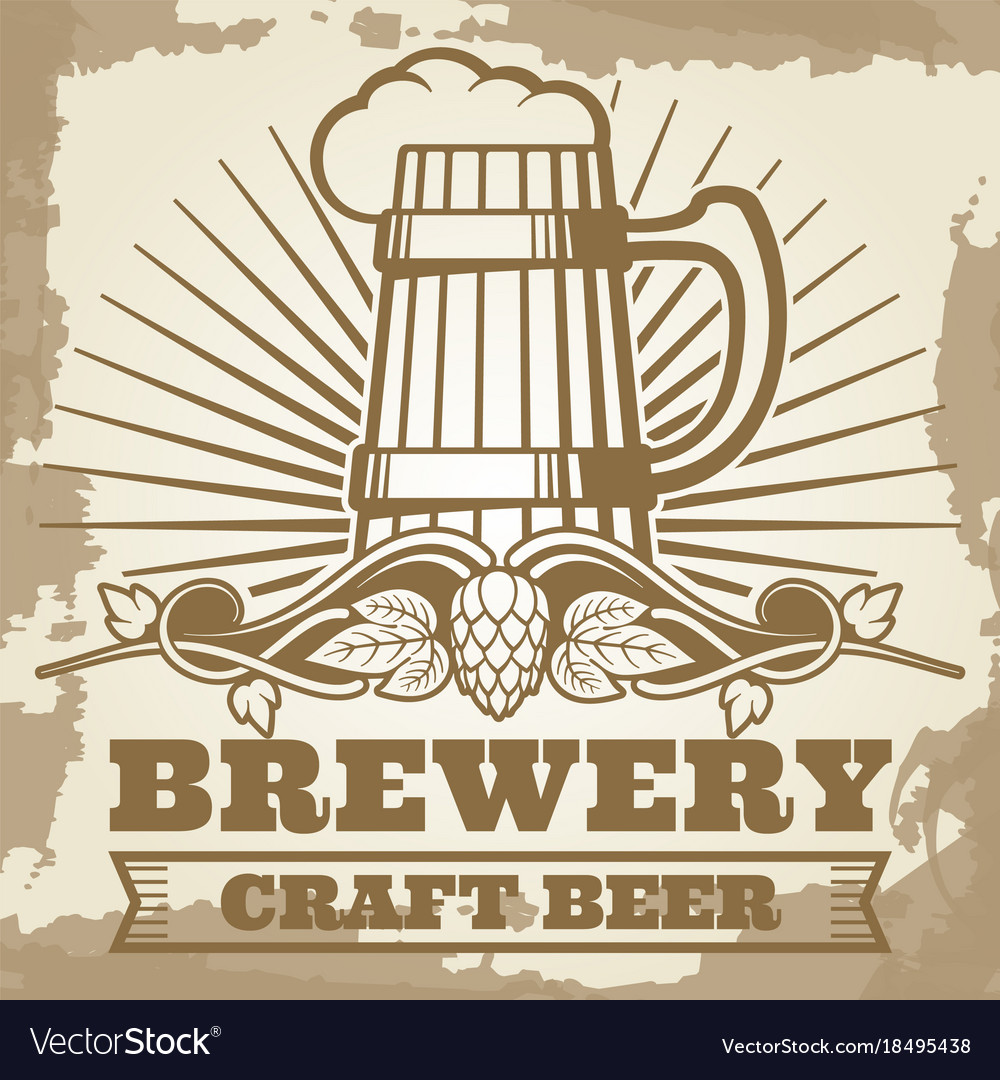 Retro brewery poster design with beer label vector image