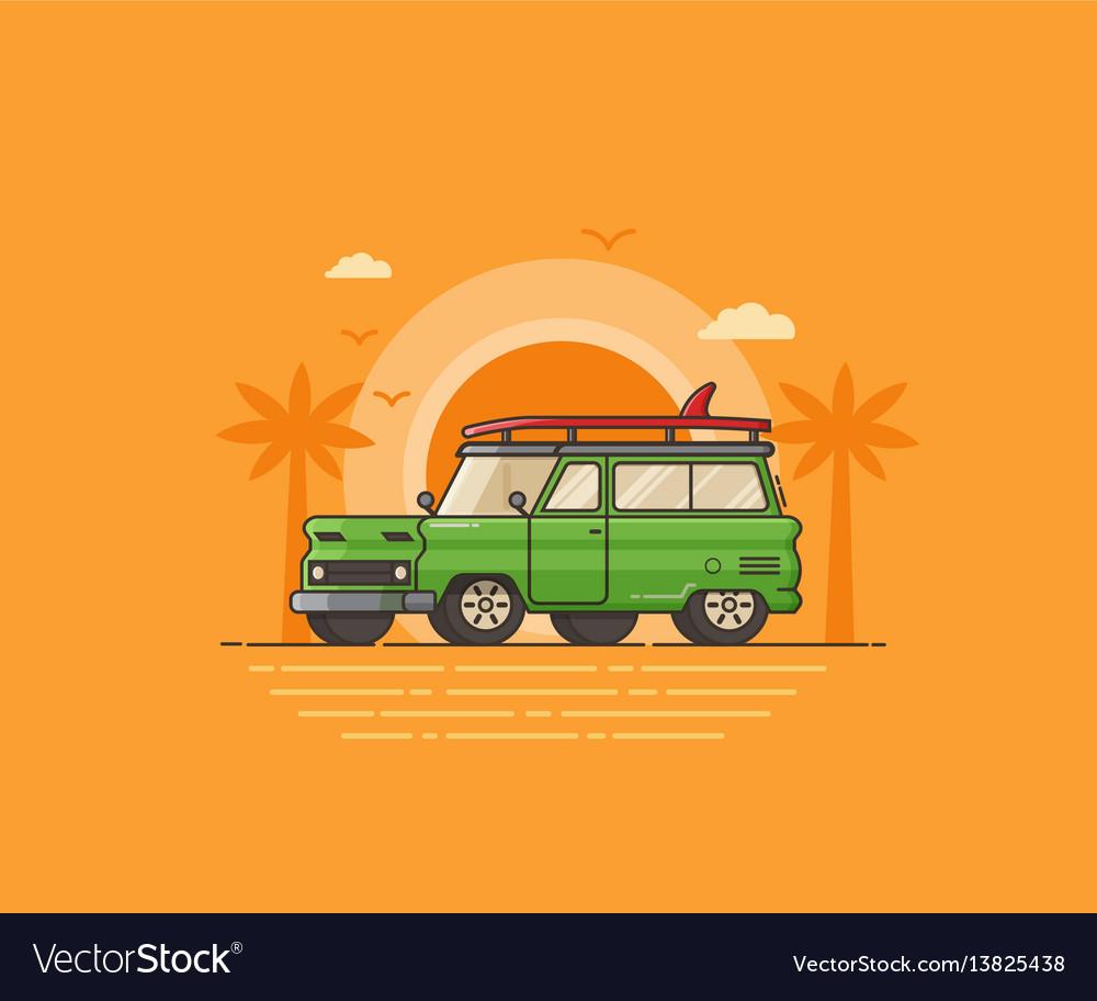Travel surfing car on summer beach vector image