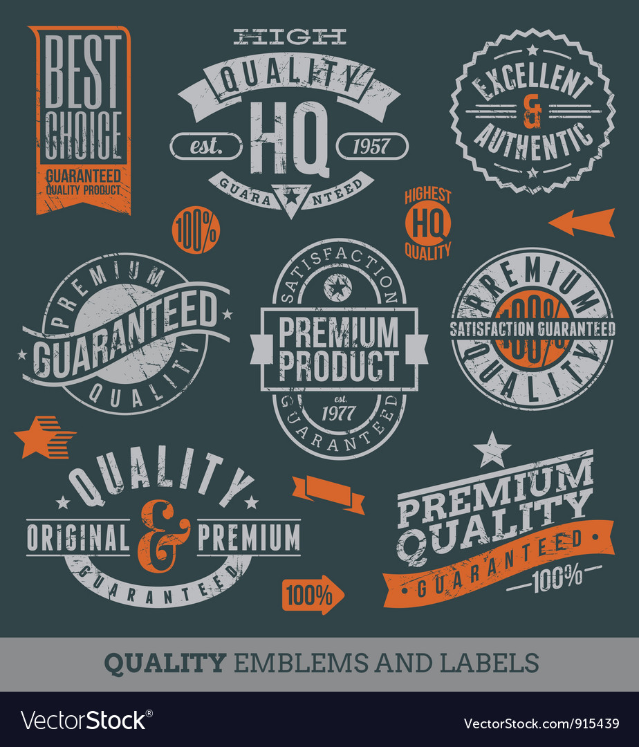 Quality and guaranteed signs vector image