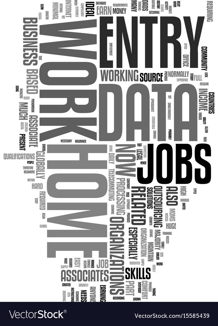 Work from home data entry jobs text word cloud vector image