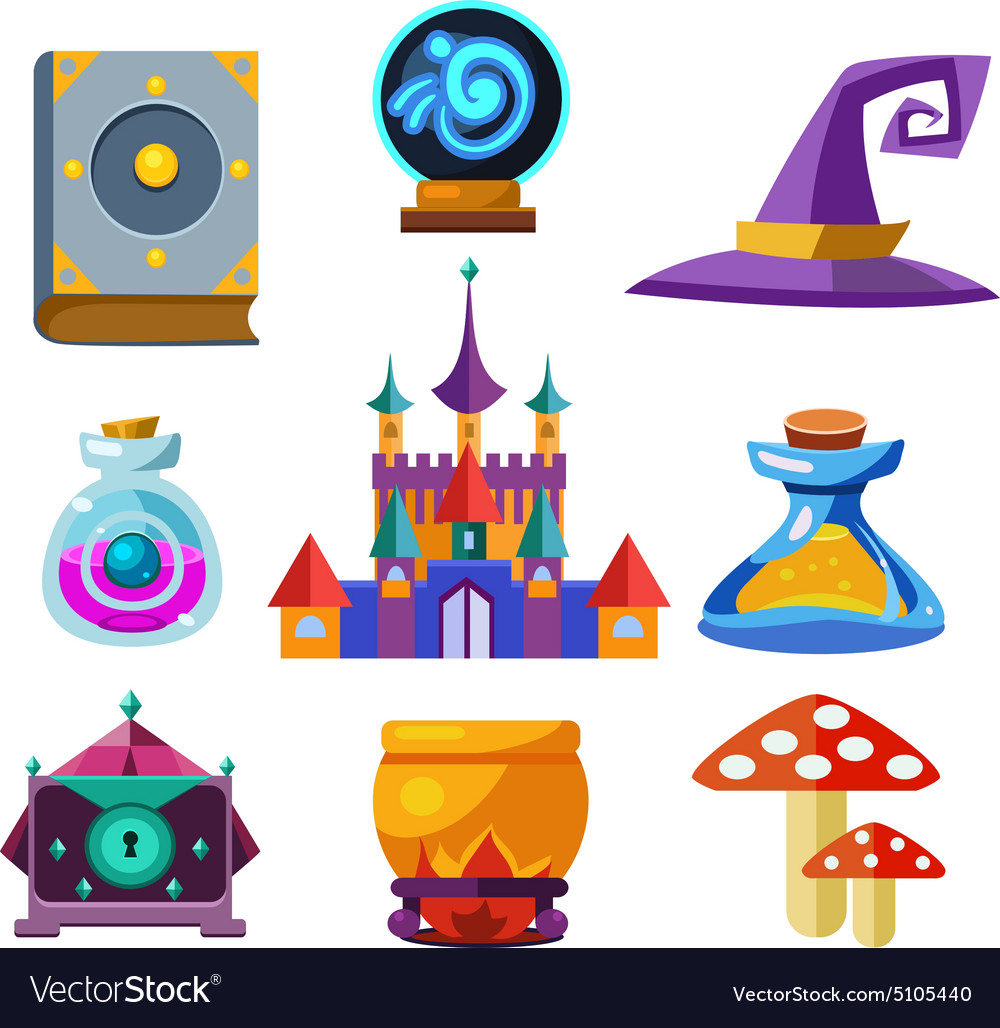Collection of Fairy Tale Elements vector image
