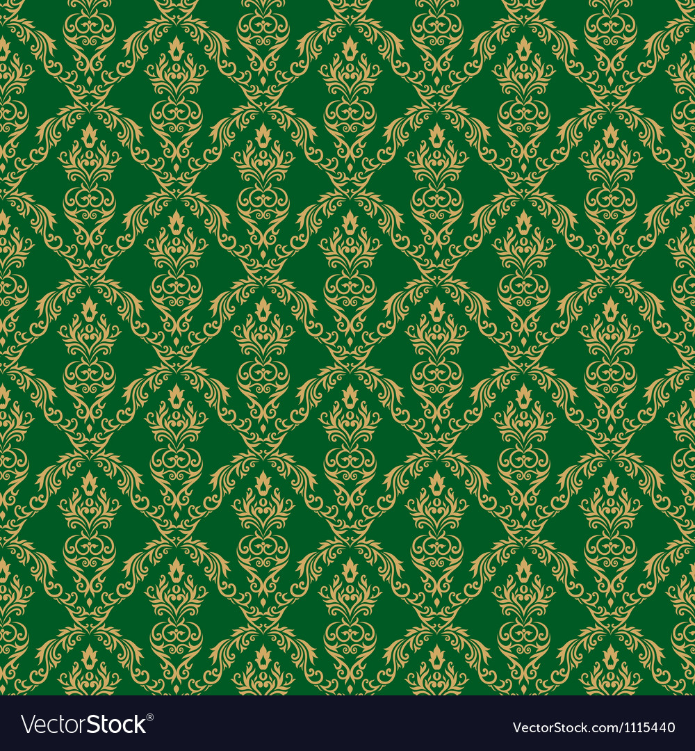 Seamless Damask Wallpaper 1 Green Color Royalty Free Vector