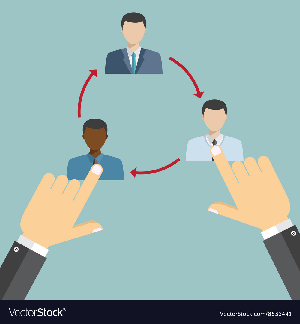 Business hand rotate characters vector image