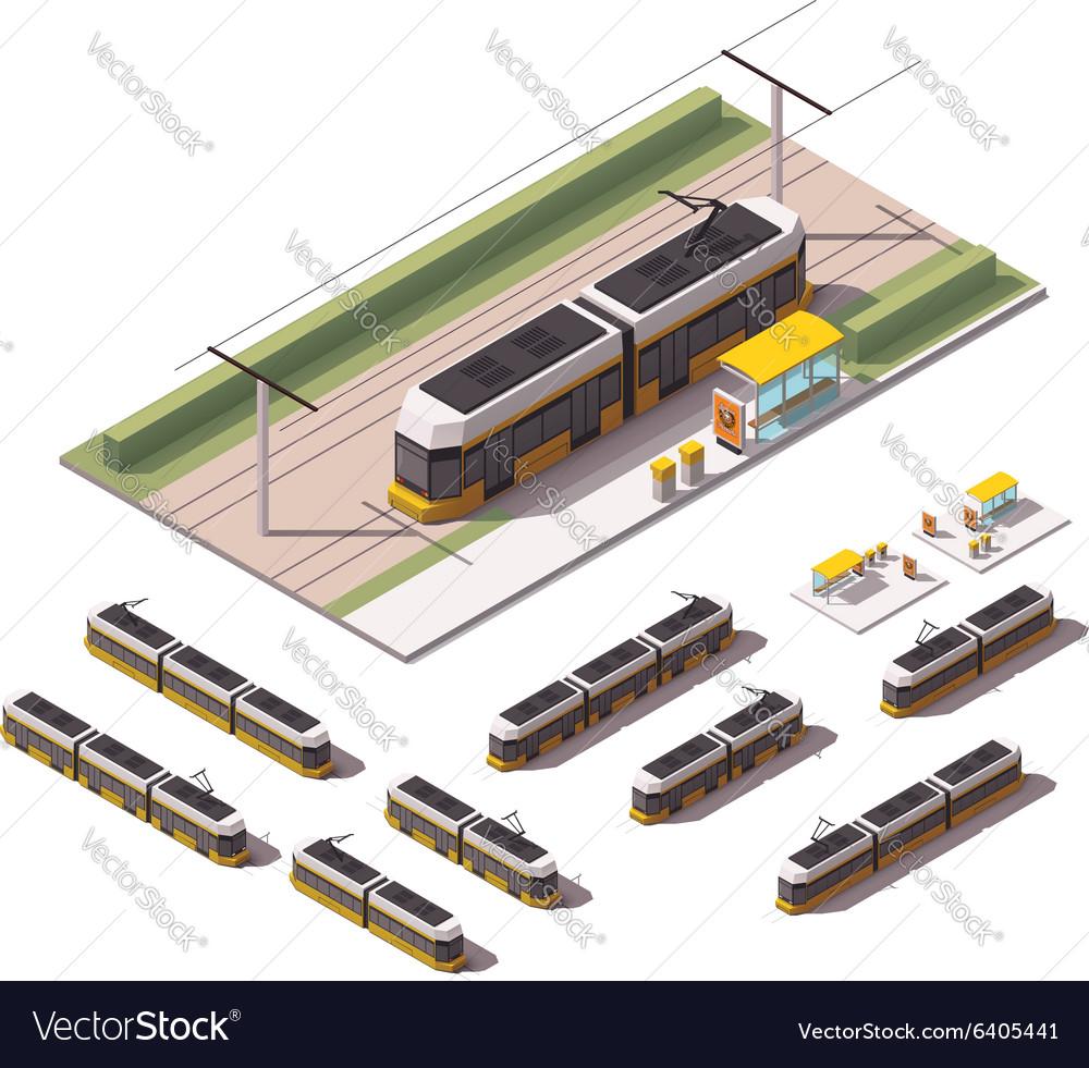 Isometric tramways vector image