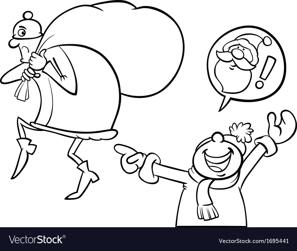 santa mistake cartoon coloring page royalty free vector