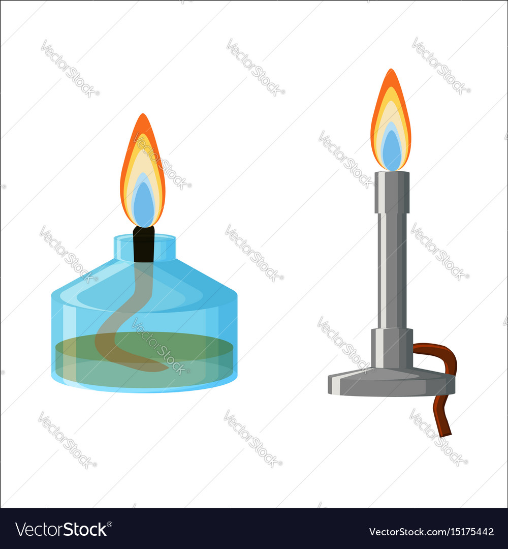 Alcohol spirit burner and bunsen burner royalty free vector alcohol spirit burner and bunsen burner vector image pooptronica Choice Image