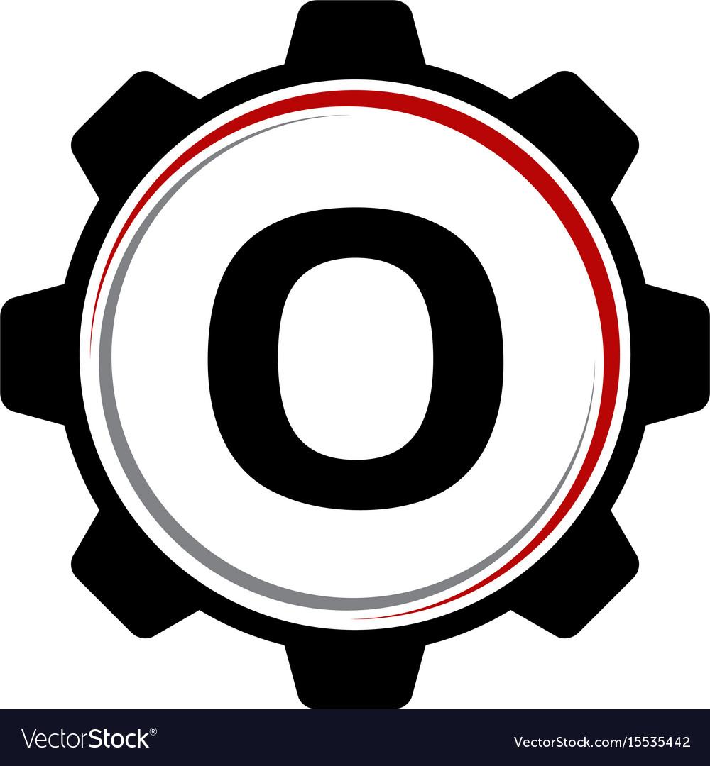 Gear solution logo letter o vector image