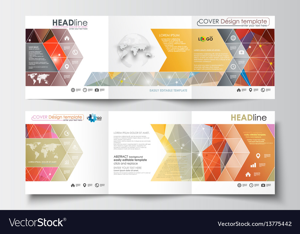 Set of business square templates for tri-fold vector image