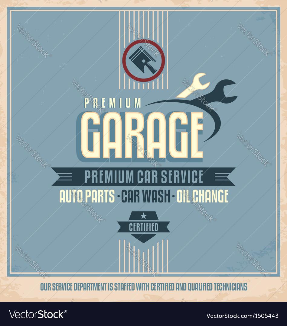 Auto service retro poster design vector image