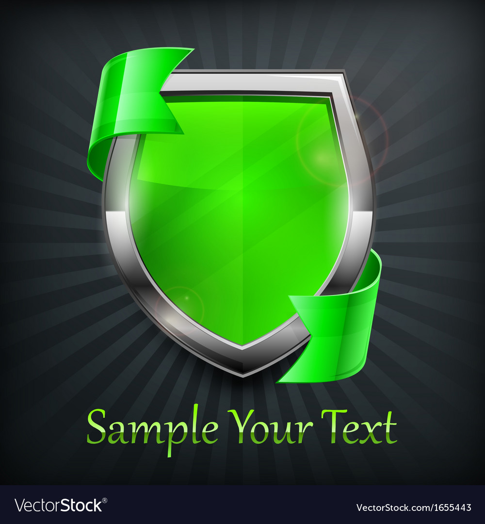 Green shield on black vector image