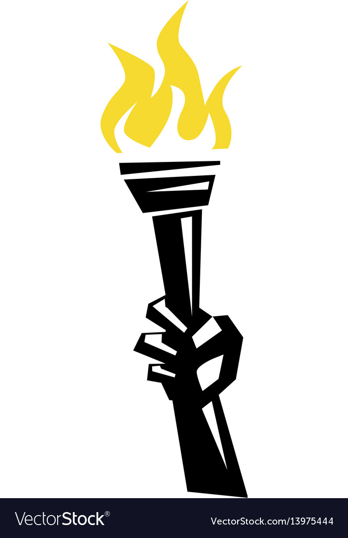 Hand holding a torch vector image