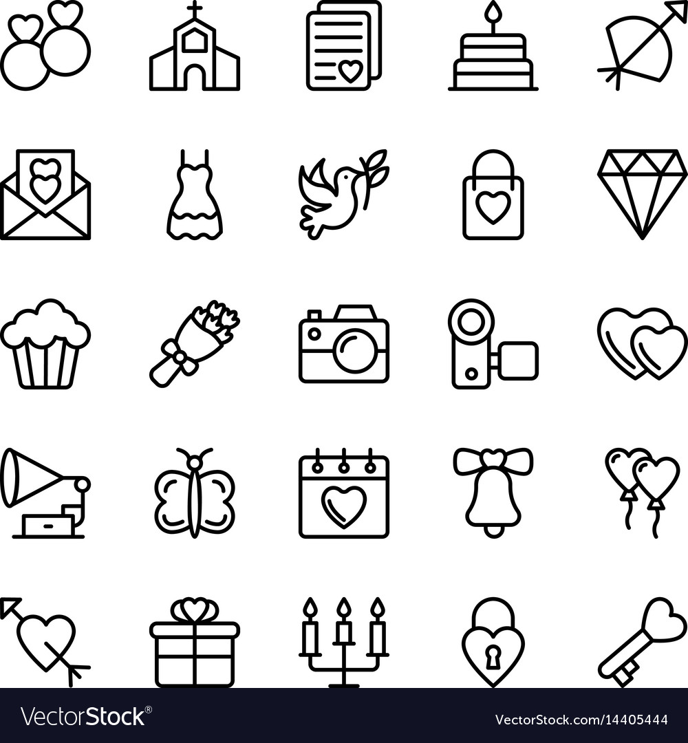 Love and valentine line icons 1 vector image