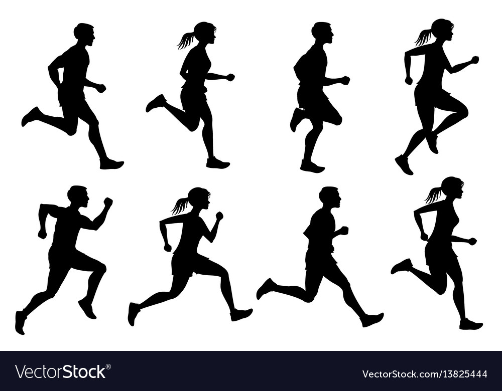 Running male and female jogging people vector image