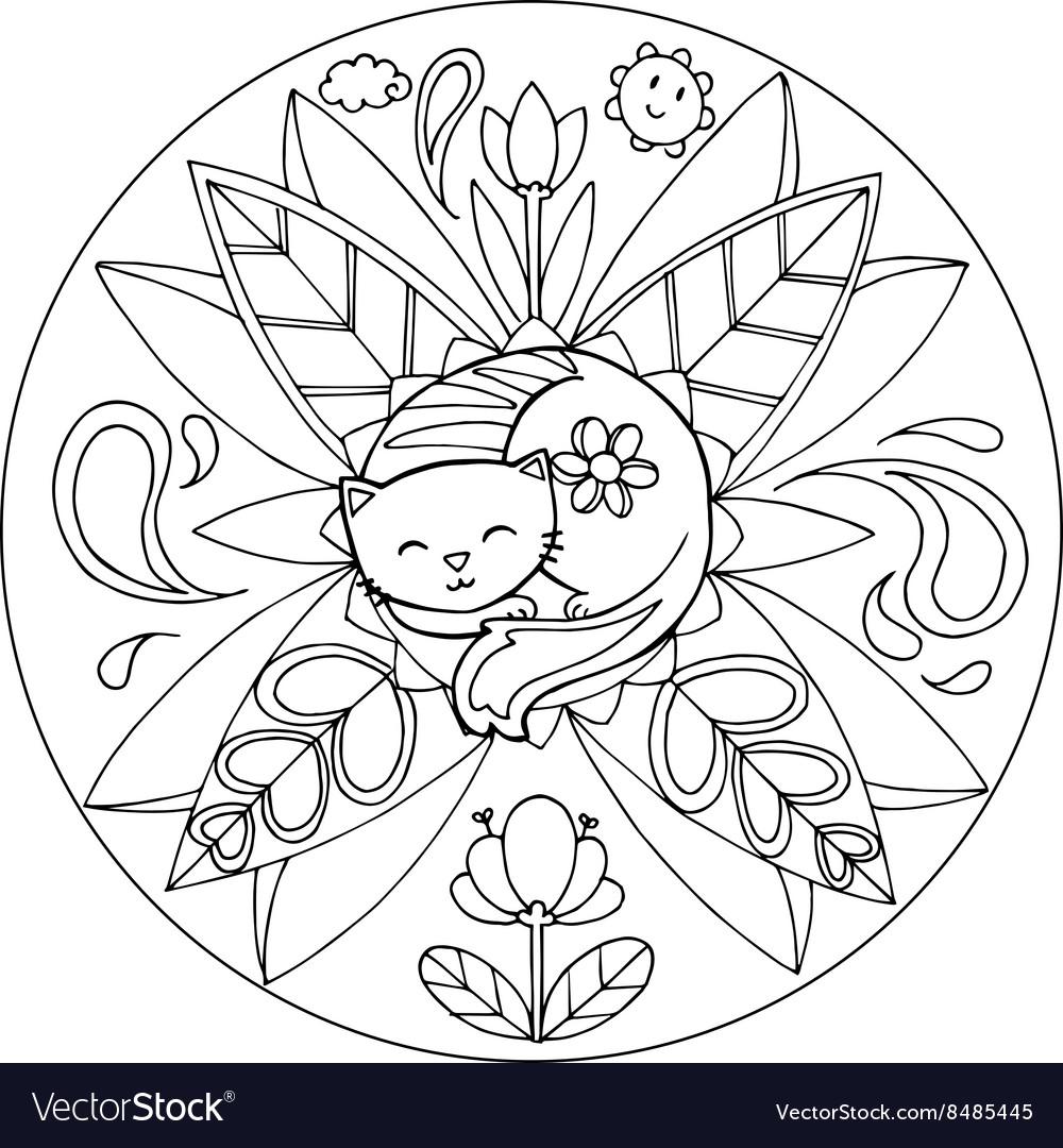 Coloring Cat Mandala Royalty Free Vector Image