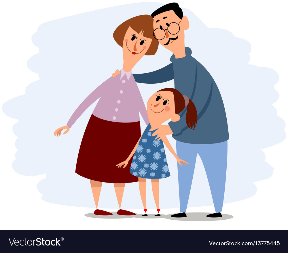 Happy small family vector image