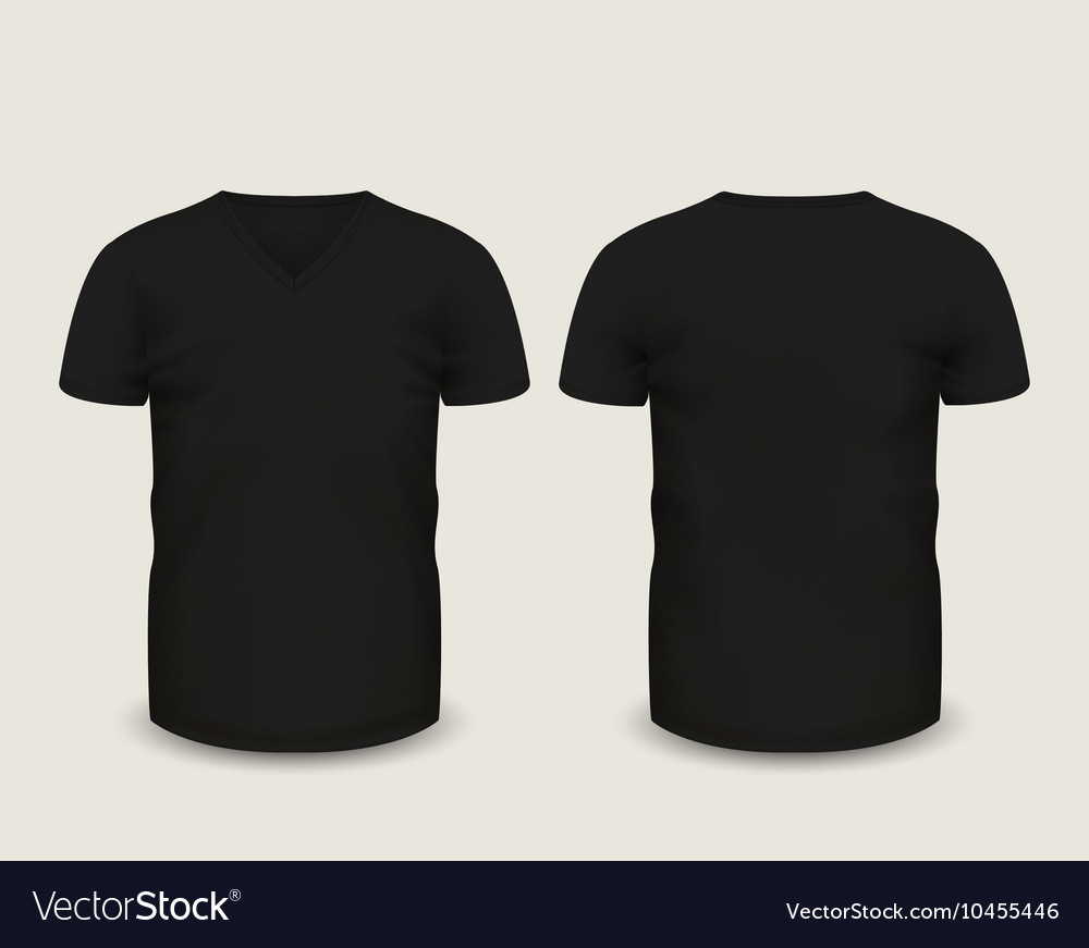 Black v neck shirts template royalty free vector image for V neck black t shirt