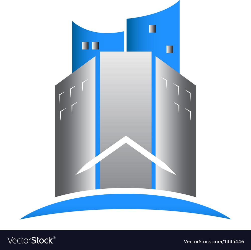 Modern building real estate logo vector image
