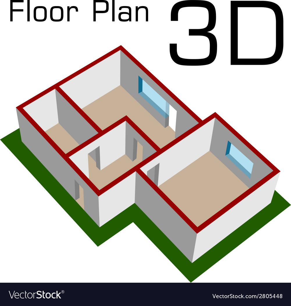 3D empty house floor plan Royalty Free Vector Image