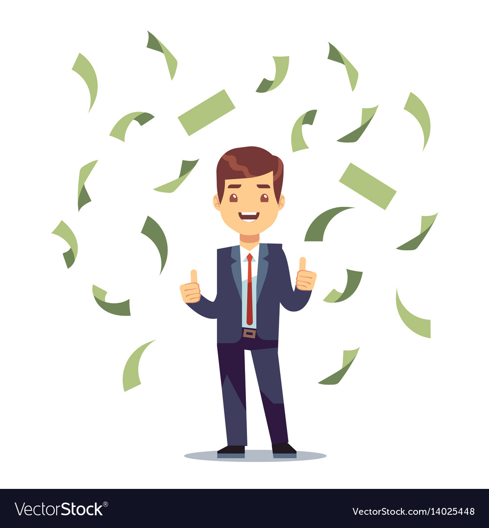 Happy successful businessman in money rain vector image