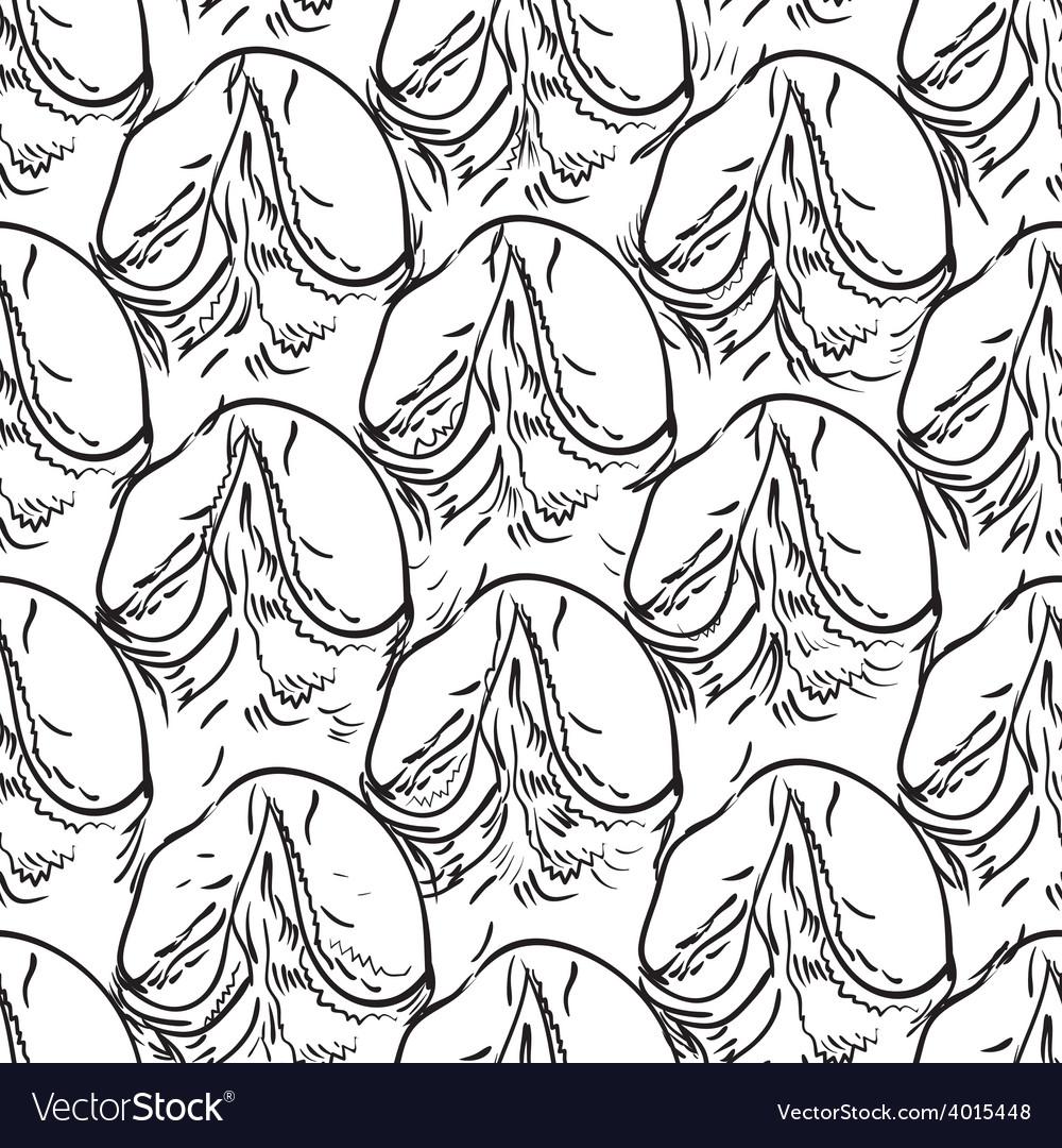 Pineapple peel seamless background Sketch Black vector image