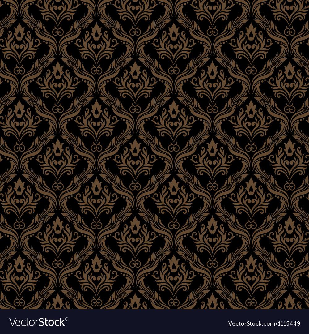 Seamless Damask Wallpaper 3 Black Golden Color vector image