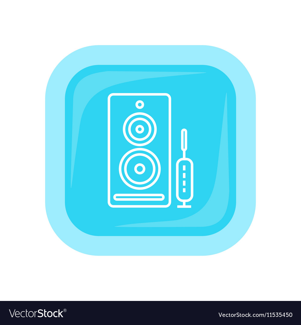 Computer Speakers Web Button PC Loudspeakers vector image