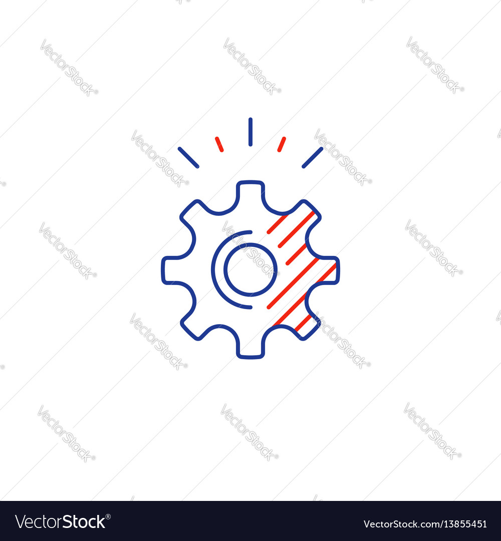 Technical smart solution cogwheel line icon vector image