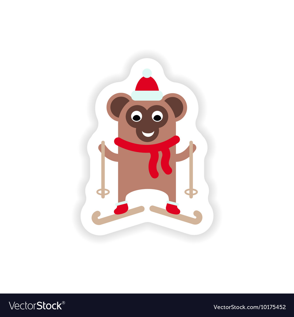 Paper sticker on white background Monkey skiing