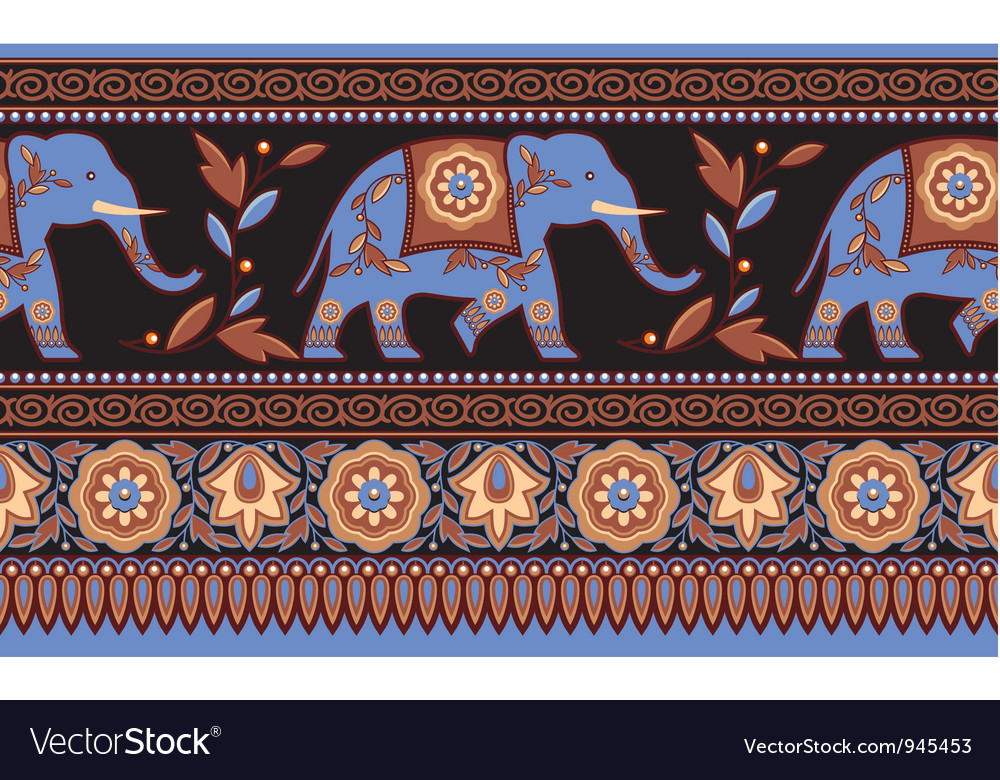 Detailed Indian Elephant Seamless Border vector image