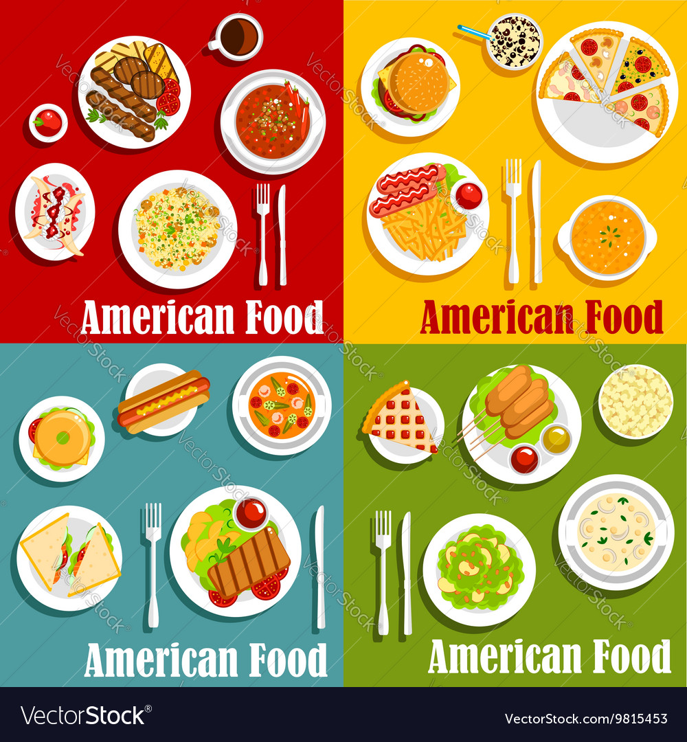 North American Or United States National Cuisine Vector Image - United states of america cuisine