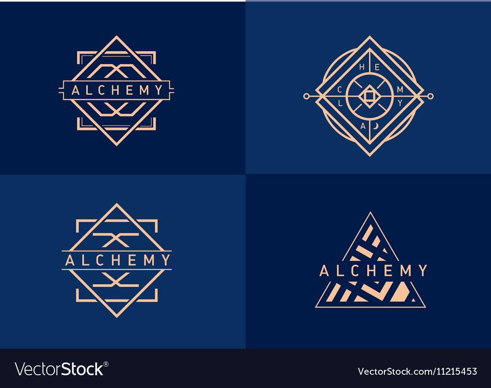 Set linear gradient logo on alchemy vector image