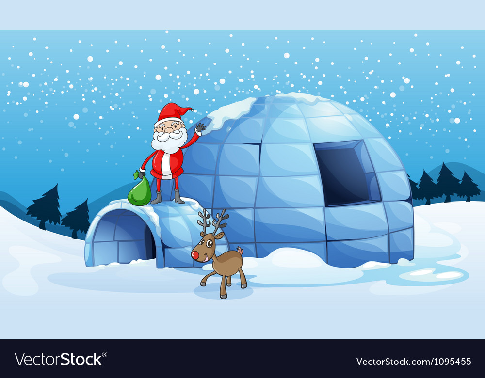 An igloo and a santa clause vector image