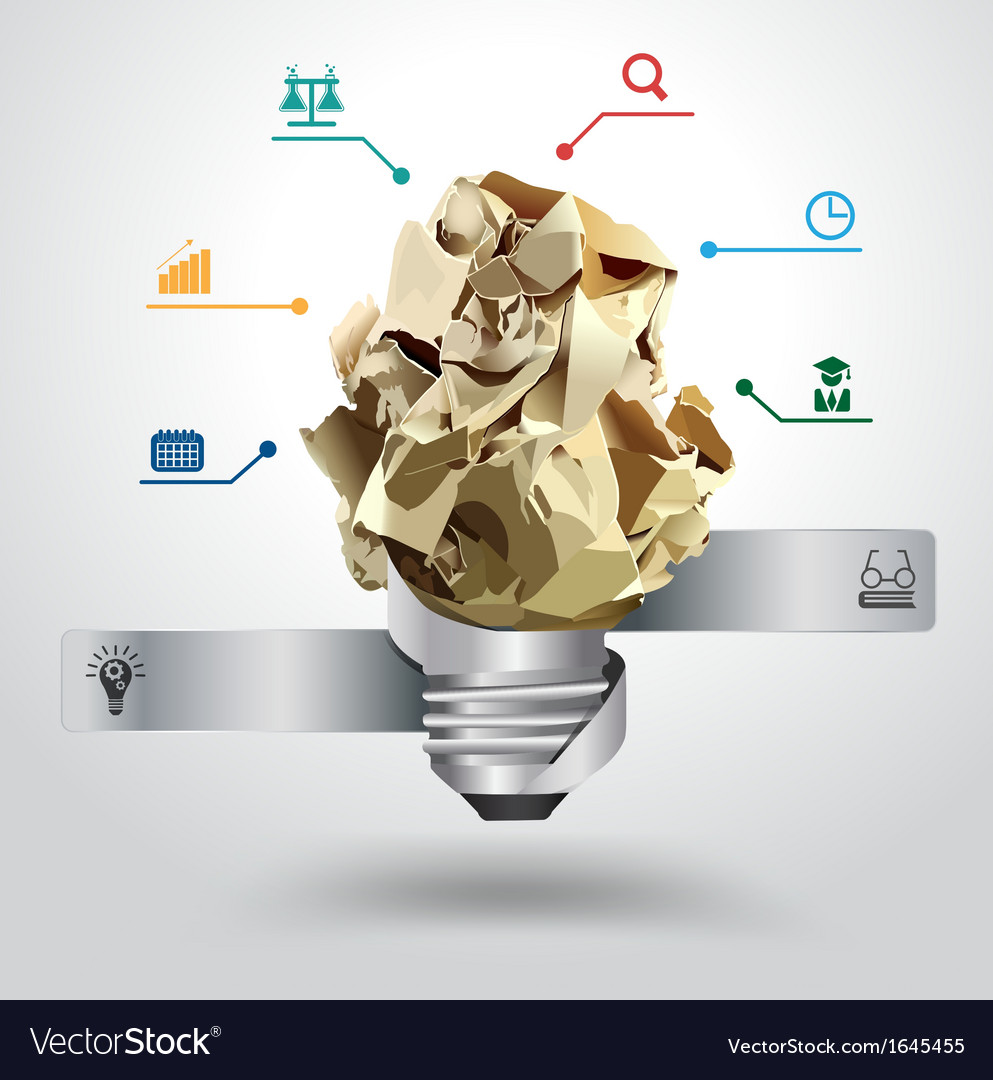 Creative light bulb idea with crumpled paper vector image