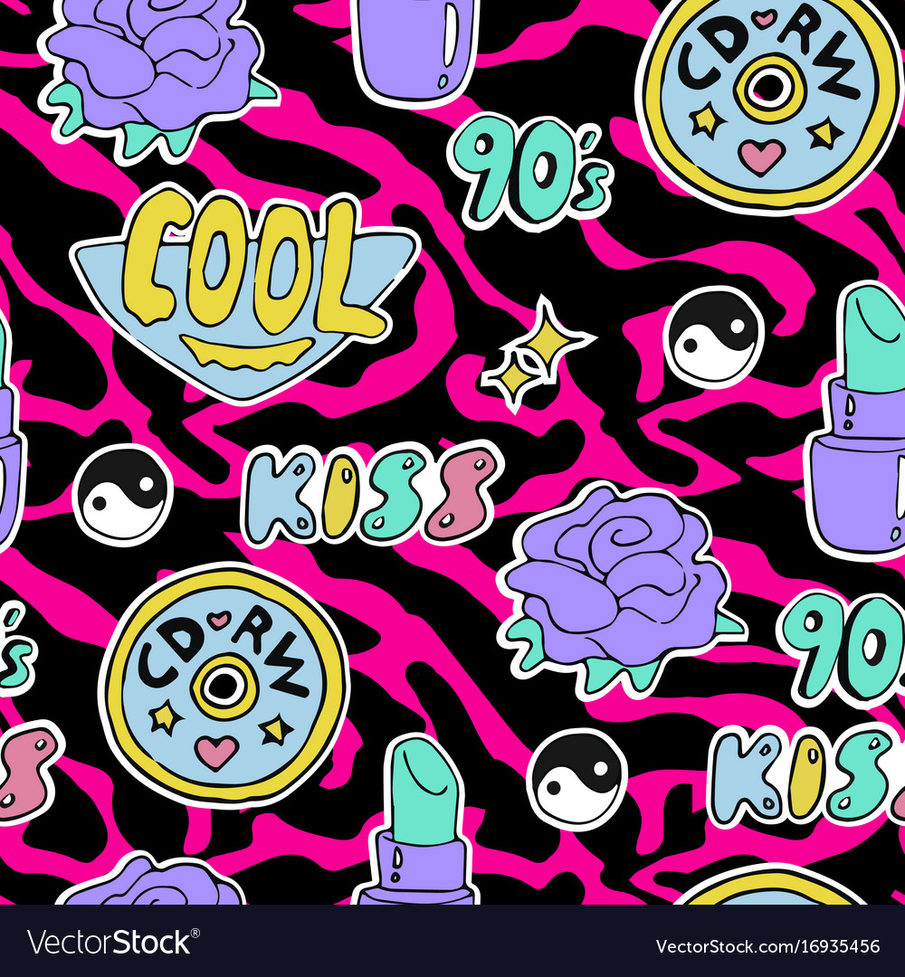 Bright seamless pattern 80s 90s style vector image