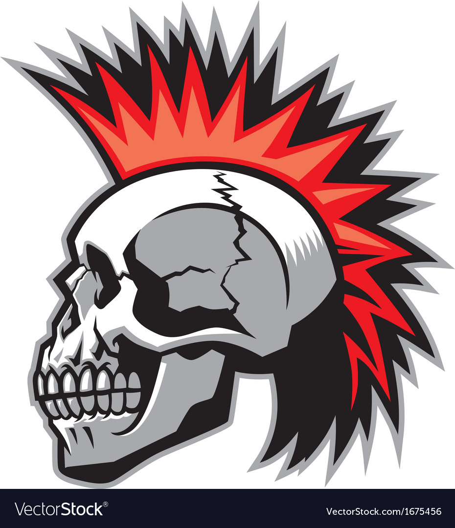 skull with mohawk hairstyle royalty free vector image