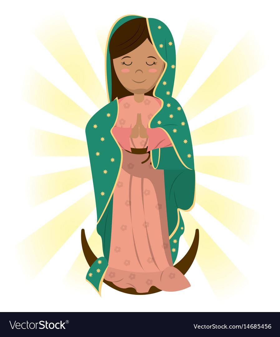 Virgin mary catholic prayer bless image vector image